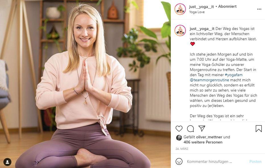 Die Yogalehrerin Audrey Hämmerle nutzt Instagram erfolgreich für ihr Yoga Marketing