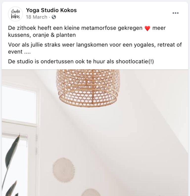 Facebookbericht Yoga Studio Kokos