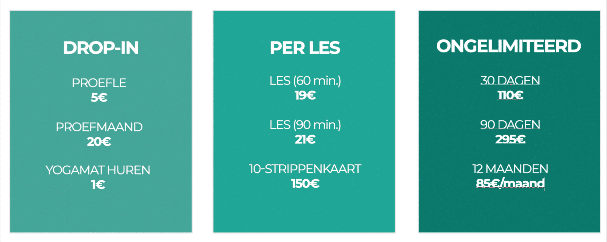 Pricing Table Yoga Management