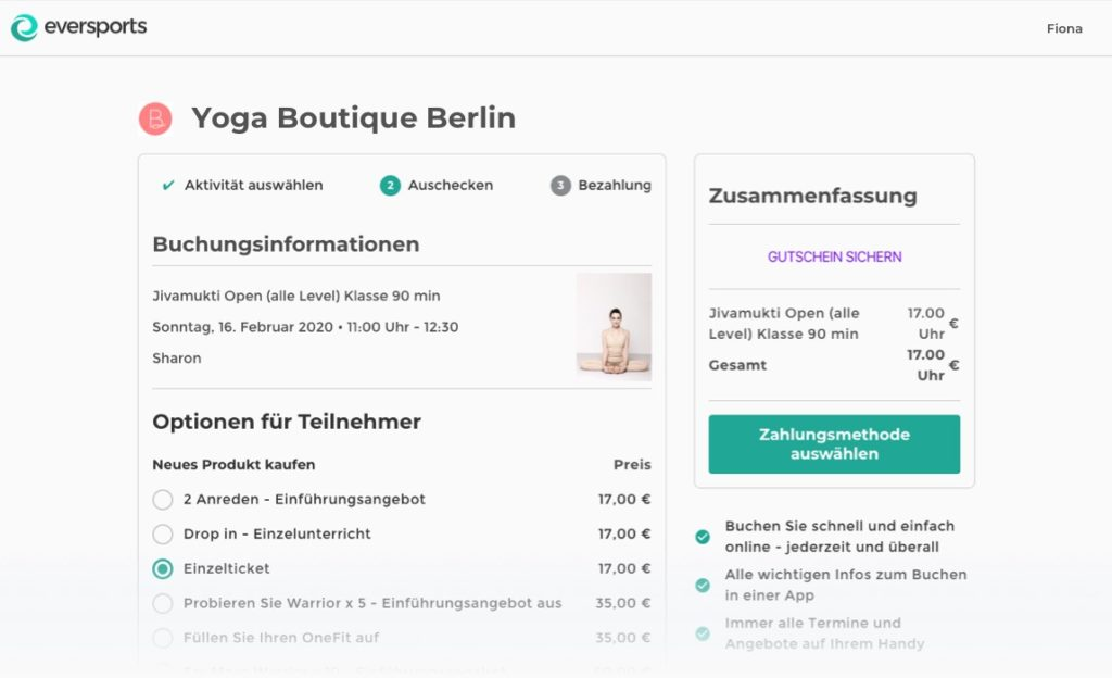 Online Buchungen Yoga Software