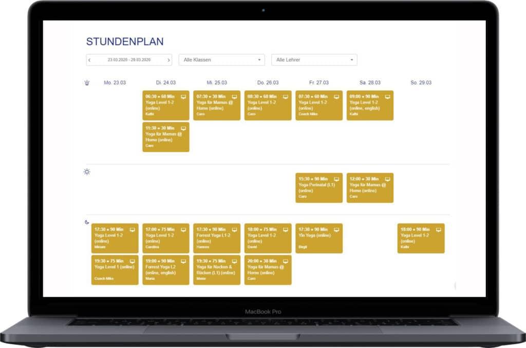 Online Klassen anbieten -Stundenplan