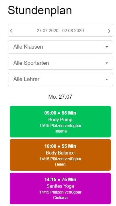 Stundenplan Bodymotion Schweiz mobile Ansicht