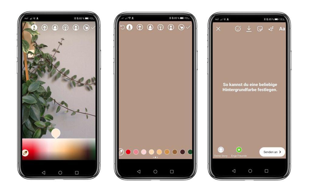 Instagram Stories - Farben des Yoga Studios wählen