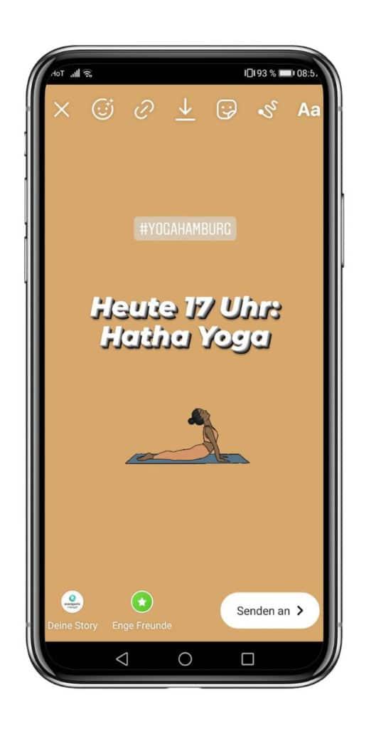 Instagram Stories Hashtags Yoga Studio Hamburg