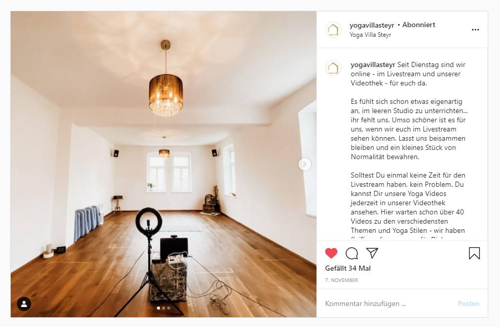Instagram Posting Yoga Villa Steyr: Equipment