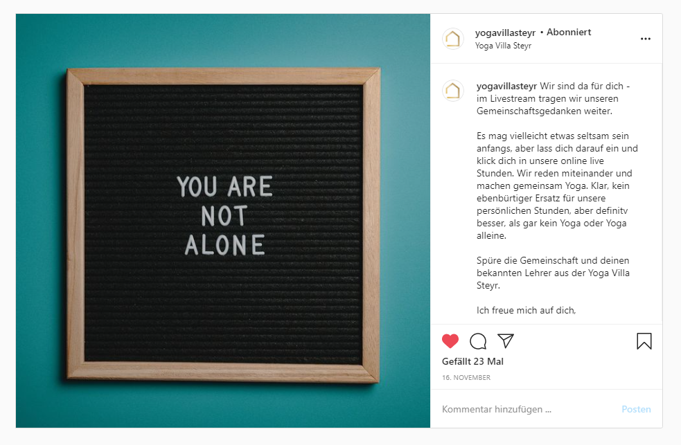 Instagram Posting Yoga Villa Steyr: Online Yoga Kurse bewerben