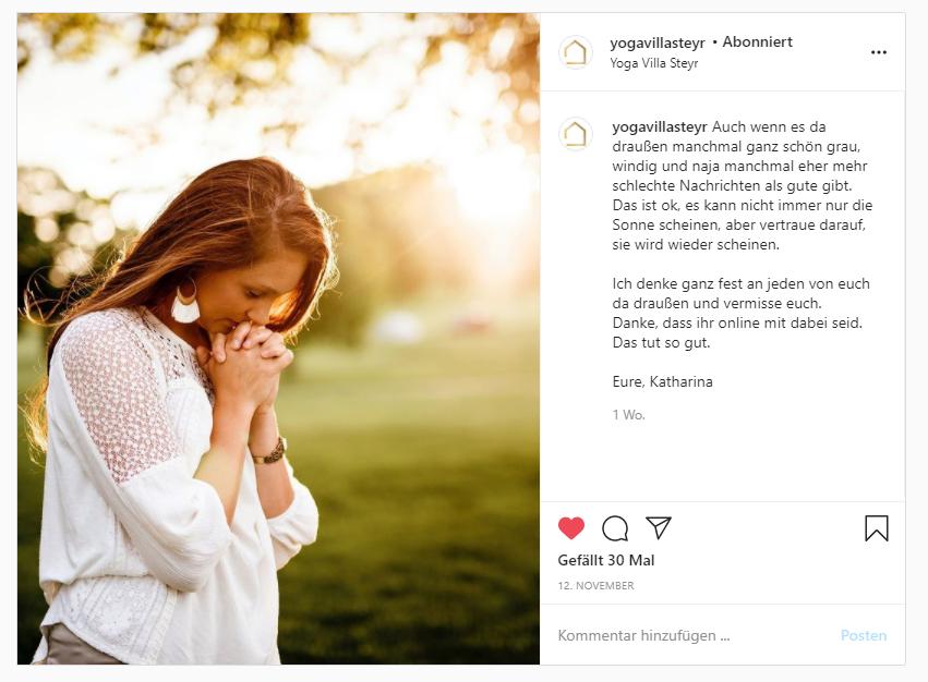 Instagram Posting 2 Yoga Villa Steyr: Online Yoga Kurse bewerben