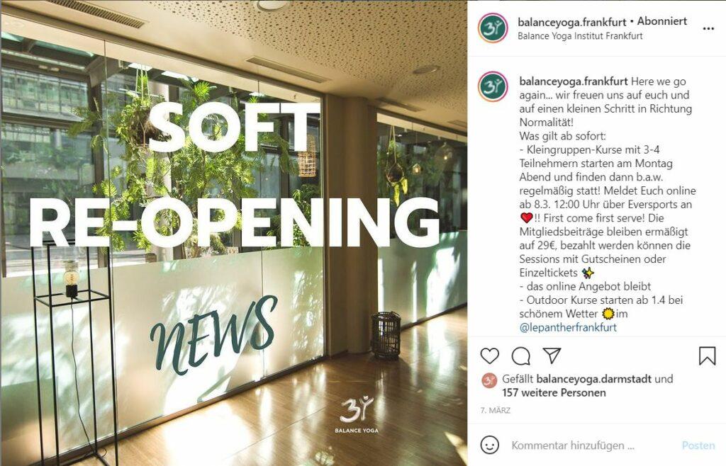 Balance Yoga: Das Yoga Studio in Frankfurt hat bereits für kleine Gruppen geöffnet