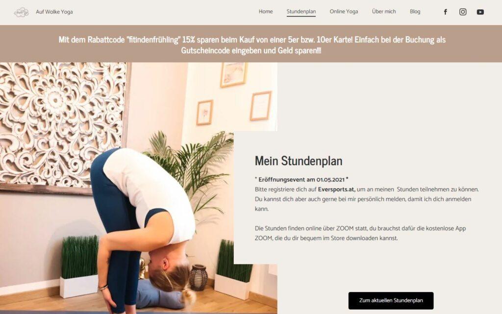 Rabattaktion auf der Website von Auf Wolke Yoga