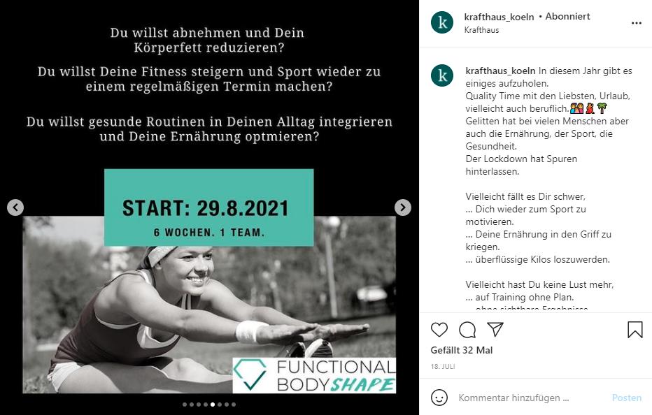Instagram Posting des Krafthaus Köln