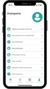 screenshot Eversports app profiel