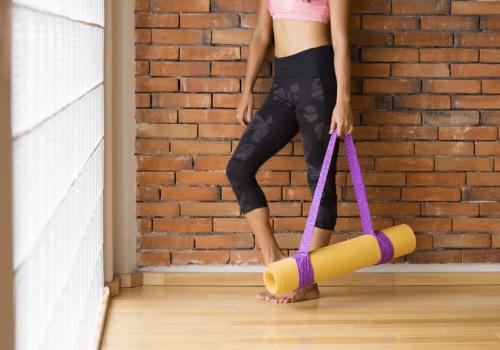 Yoga mat studio woman