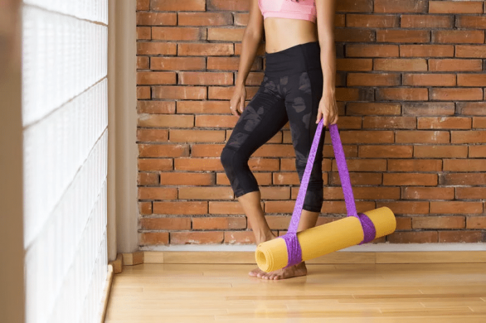 Yoga mat studio woman