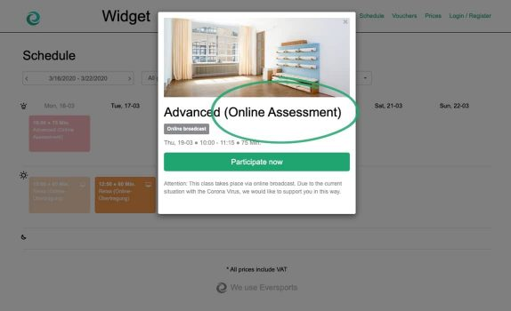 Booking Calendar for online classes
